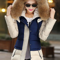 Fur Hood Long Sleeve Color Block Coat