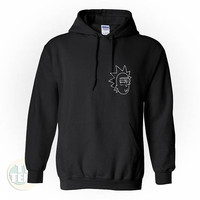 Rick Sanchez Pocket Rick And Morty Hoodie Sweater in Black and White