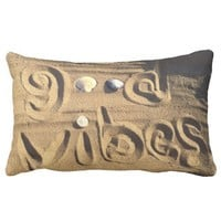 "Fun, ""Good Vibes"" Quote Drawn In Beach Sand Photo Lumbar Pillow"