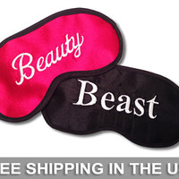 Beauty and Beast Embroidered Red and Black His and Hers Eye Masks