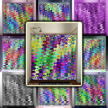 colorful mosaic multicolor rainbow shower curtain bathroom decor fabric kids bath window curtains panels bathmat valance