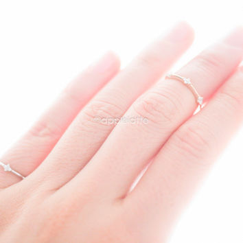 diamond knuckle ring, pinky ring, CZ midi ring in gold or silver