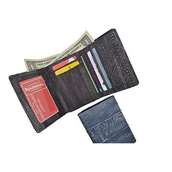 Waterproof Men's EeL Skin Leather Trifold ID Style Credit Card Holder ID Outside Wallet