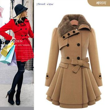 In stock New Winter Coat Women Fashion Double Breasted Thicken Slim Long Style Wool Blends Coats With Belt AE-ME-172 2016
