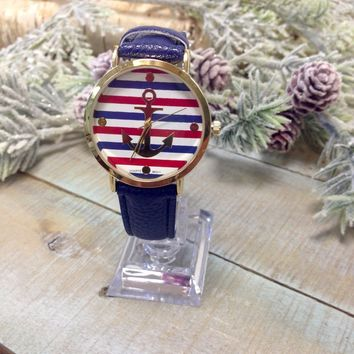 ANCHOR large face watch - navy