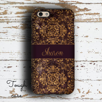 Protective Iphone case, Floral Iphone 5 case, Monogram iphone 6s case, Womens Iphone 6 case, Pretty Iphone 5c case, Distressed damask (9891)