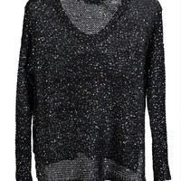 Sequined Skull Embroidered Sweater