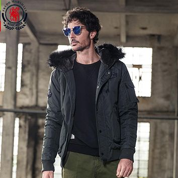 Men's Winter Hooded Jackets And Coats Fur Collar Patch Design Patchwork Epaulet Casual Parkas Outerwear