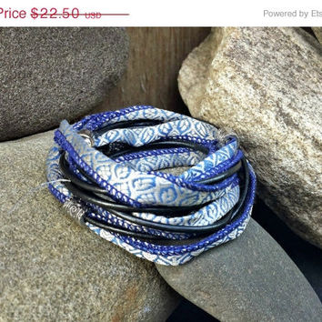 On Sale Boho wrap bracelet, Brilliant Blue vintage Sari Silk and gunmetal leather with magnetic clasp, free shipping.