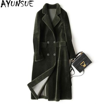AYUNSUE 2018 New Winter Warm Real Fur Coat Female Natural Wool Jackets For Women Liner PU Leather Jacket Long Fur Coats WYQ976