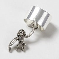 Silver Ear Cuff with Swinging Monkey Charm– Claire's