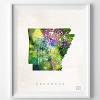 Arkansas Watercolor, Map, Home Town, Poster, art, USA, States, America, Wall Decor, Painting, silhouette, state love [NO 323]