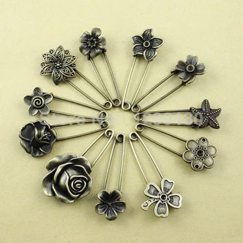Alloy Antique 11pcs/lot  Brass Vintage Flower Brooch Safety Pins For Garment Accessories Scarf