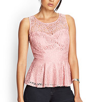 FOREVER 21 Remixed Boho Peplum Top Mauve