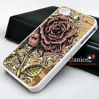 iphone 4 case iphone 4s case iphone 4 cover  beautiful  colors sketch Rose unique Iphone case