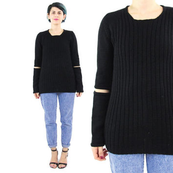Helmut Lang Sweater Vintage Goth Sweater Cut Out Elbows Black Ribbed Knit Sweater 90s Long Sleeve Jumper Minimalist Designer Pullover (S/M)