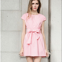 Plain Bow Tie Waist Short-Sleeve Dress