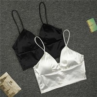 PEAPGC3 Sexy Women Sexy Strap Silk smooth Plunge Bralette Bra Sleeping brassiere Push Up Bras sexy lingerie Top wireless bra top