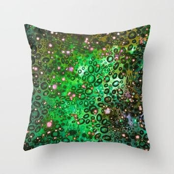 RAINBOW DOTTY OCEAN 3 Green Lime Ombre Space Galaxy Colorful Polka Dot Bubbles Abstract Painting Art Throw Pillow by EbiEmporium