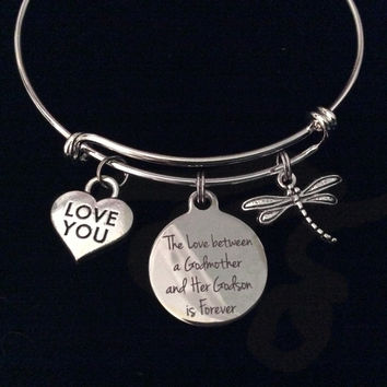 The Love Between a Godmother and Her Godson is Forever Expandable Charm Bracelet Adjustable Bangle Gift