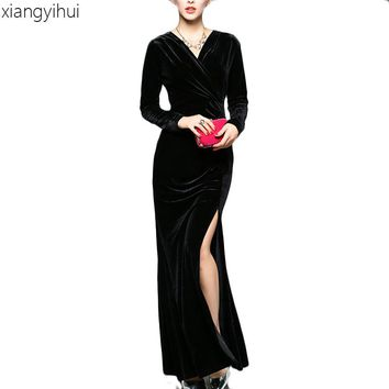 Sexy V-neck High Waist Split Women Long Dress Winter Autumn Slim Black Wine Red Velvet Dress Long Sleeve vestido Female