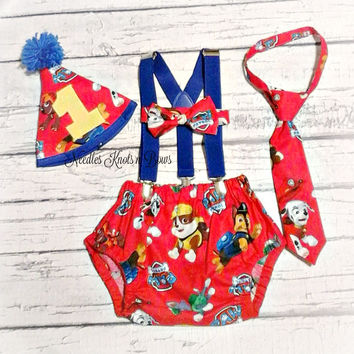 Boys Paw Patrol Cake Smash Set, Boys Paw Patrol First Birthday Cake Smash Outfit, First Birthday Photo Shoot Outfit