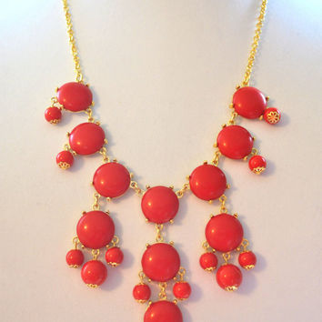Red Bubble Necklace, J Crew Inspired, Bib Necklace, Free Shipping.
