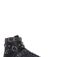 Saint Laurent Black Studs And Buckles Classic Court High-top Sneakers