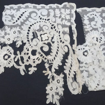2 Large Pieces of Vintage 1940s Free Bobbin Honiton Lace, Muslin Applique on Net, Upcyle Tattered Trim for Dresses, Blouses, Vintage Lace