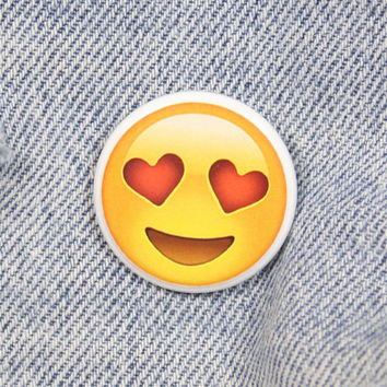 Heart Eyes Smiley Face Emoji 1.25 Inch Pin Back Button Badge