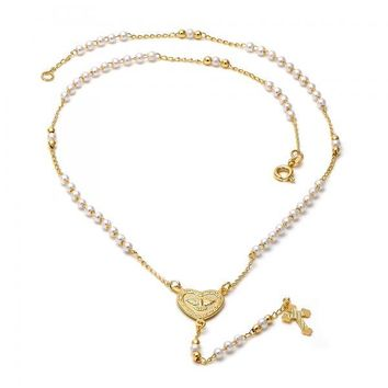 Gold Layered 09.02.0006.18 Thin Rosary, Heart and Cross Design, with Ivory Mother of Pearl, Diamond Cutting Finish, Gold Tone