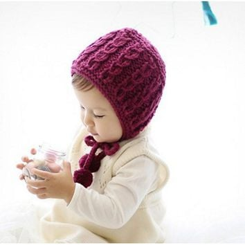 1Pcs Baby Hat Bonnet Autumn Winter Handmade Wool Ear Knitting Hats Newborn Baby Fashion Warmer Caps Kids Hats BB0166