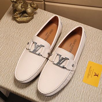 LV Louis Vuitton Men's Vintage Leather Casual Loafer Shoes white Best Quality