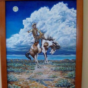 AMERICAN SOUTHWEST WESTERN COWBOY horse BRONCO BUSTER oil painting Herrmann