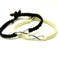 Bracelets for Couples, Set of Two Infinity Hemp Bracelets in Black and White, Macrame Jewelry, Made to Order
