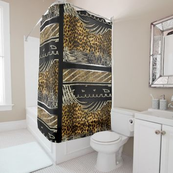 Modern Patchwork Jungle Shower Curtain