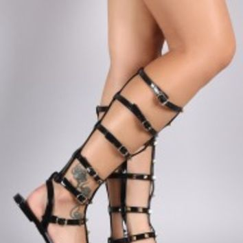 Qupid Studded Jelly Gladiator Flat Sandal