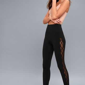 Raider Black Lace-Up Leggings