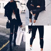 Fashion All-match Hollow Ripped Jeans Trousers Women Pencil Pants