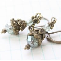 Iridescent Olive and Antique Brass Neo Victorian with Floral Accent Earrings