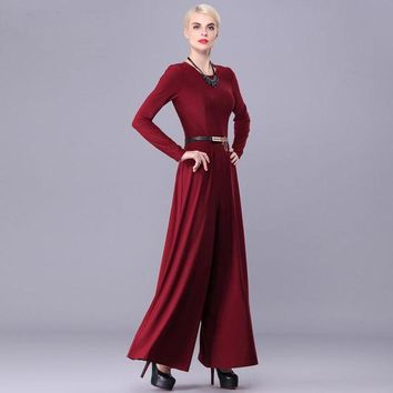 LMFIJ6 2017 New arrival good quality Fashion Big Women Spring Autumn long sleeve Maxi Overalls Wide Leg Jumpsuit macacao long pant
