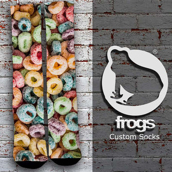 Froot Loops Colorful Cereal Elite Socks, Custom socks, Personalized socks
