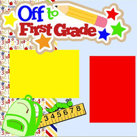 NEW!! First Grade 2-page 12 X 12 Premade Scrapbook Layout