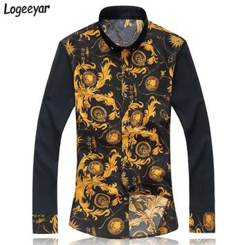 2017 New Fashion Print Men's Shirt Men Casual Slim Fit Dress Shirts Men Long Sleeve Cotton Shirt Vetement Homme Plus Size M-7XL