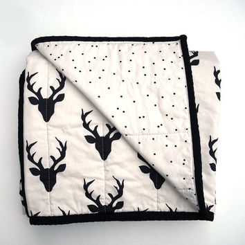 Woodland Baby Quilt in black and cream buck Print for Girl or boy – Reversible