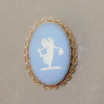 Wedgwood 14k Yellow Gold Oval Cameo Brooch or Pendant Girl Muse Vintage Signed Fairy Angel Blue Jasper Cameoware Made in England Stamped