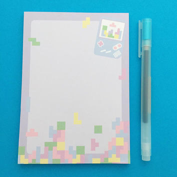 Pastel Gameboy Tetris Notepad - Retro Game A6 Notepad