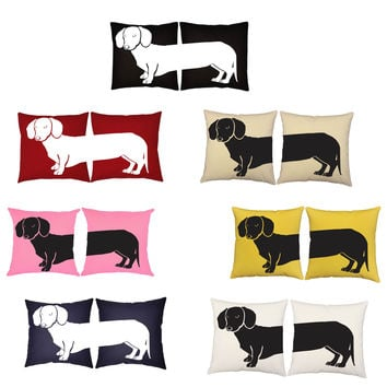 Set of 2 RoomCraft Dachshund Throw Pillow Covers/Cushions: Dachshund Square Covers Only 14x14 inches - Natural