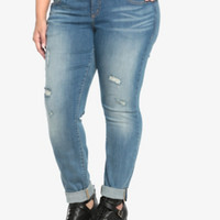 Skinny Jean - Light Wash with Destruction (Regular)