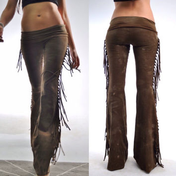Fringe Bell Bottoms - Rocker Tie Dyed Bell Bottoms - Music Festival Bellbottoms - Hip Hugger Flares - Fringe Pants - Sizes XS, S, M, L, XL